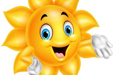 卡通戴白手套的太阳矢量素材