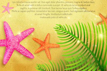 沙滩上的彩色海星和棕榈树叶矢量图