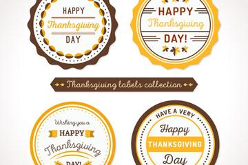 4款圆形感恩节标签矢量素材
