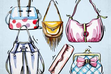 6款彩绘时尚包具设计矢量图