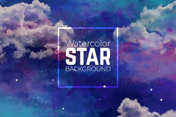 水彩绘布满云朵的夜空和星星矢量