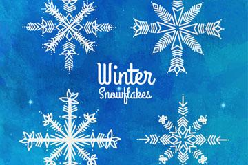 4款蓝色背景美丽冬季雪花矢量素