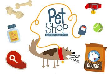 10款创意宠物店商品元素矢量素材