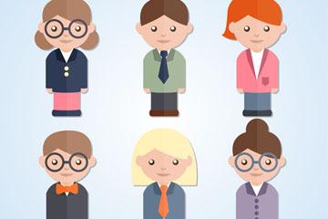 6款穿工作服的商务人物矢量素材