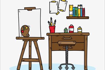 彩绘简洁艺术工作室矢量素材
