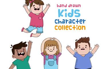 4款快乐儿童设计矢量素材