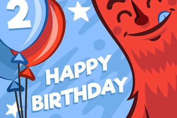 拿气球束的怪兽生日贺卡矢量图