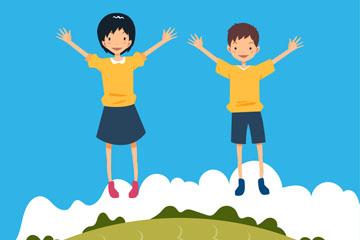 2个儿童节郊外跳跃的孩子矢量图
