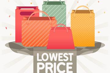 5个彩色促销购物袋矢量素材