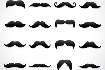 16款复古黑色胡须设计矢量素材