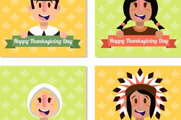 4款卡通感恩节人物头像矢量图