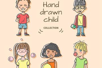 5个手绘顽皮儿童矢量素材