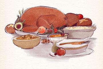 美味感恩节餐桌菜品矢量素材
