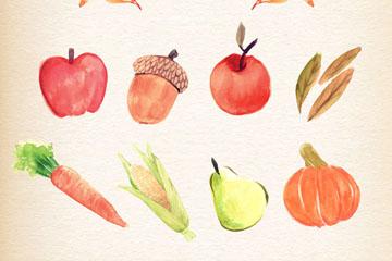 7款水彩绘感恩节蔬菜和水果矢量