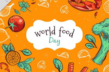 彩绘世界食品日蔬菜海鲜矢量素材