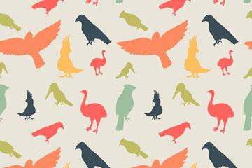 多种彩色鸟类剪影无缝背景矢量图
