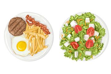 2盘美味薯条和沙拉矢量素材