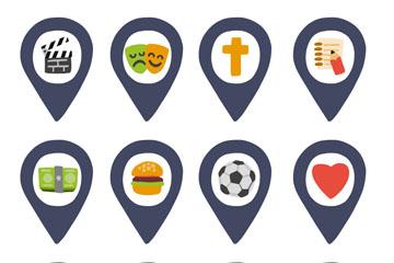 12款创意生活娱乐地标符号矢量图