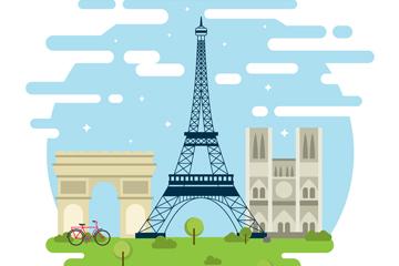 3个扁平化法国著名建筑矢量素材