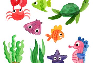 9款水彩绘海洋生物矢量素材