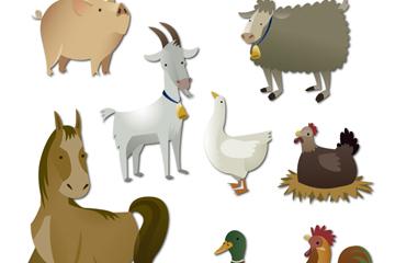 9款创意农场动物设计矢量图