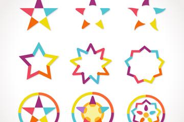 9款拼色星星图标矢量素材