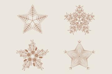 4款手绘花纹星星矢量图
