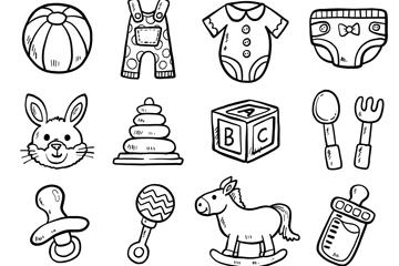 12款黑白手绘婴儿用品矢量素材