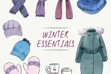10款时尚冬季配饰和羽绒服矢量素