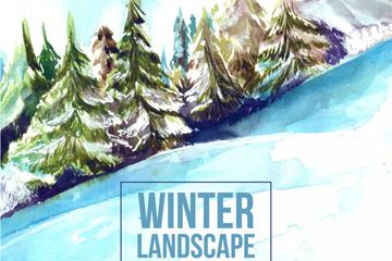 水彩绘冬季雪山松林风景矢量素材
