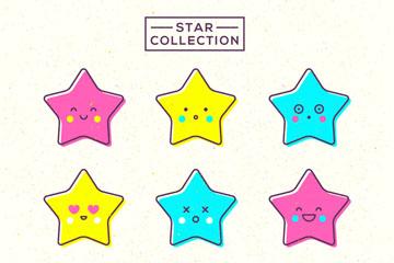 9款可爱彩色星星矢量素材