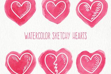 6款水彩绘爱心矢量素材