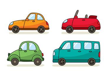 6款彩色车辆设计矢量素材
