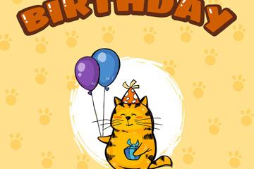可爱笑脸猫咪生日贺卡矢量素材