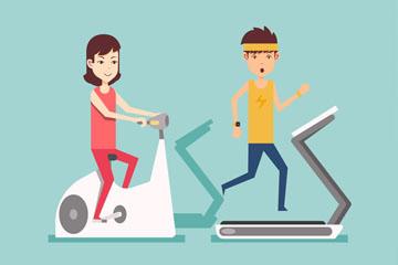 2个运动健身的男女矢量素材