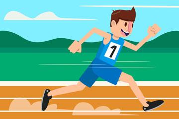 卡通跑道上跑步的男子矢量素材