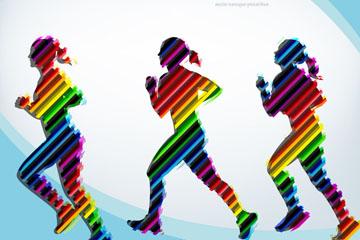 3款彩色跑步女子剪影矢量素材