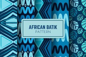 4款蓝色非洲蜡染花纹无缝背景矢