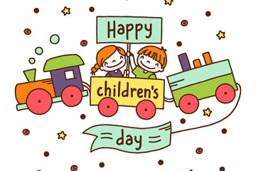 可爱儿童节玩具火车上的孩子矢量