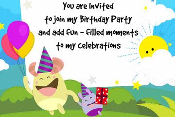 可爱怪兽生日派对邀请卡矢量素材