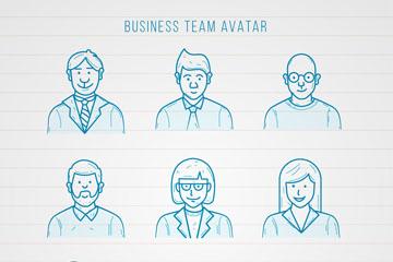 9款?#30452;?#32472;商务团队人物头像矢量图