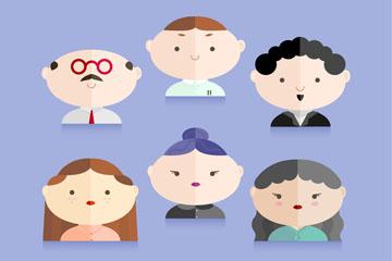6款创意胖脸商务人物头像矢量图