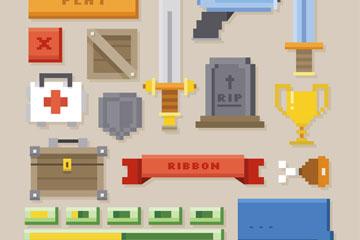 20款创意像素游戏元素矢量素材
