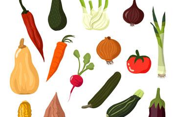 16款卡通蔬菜设计矢量素材