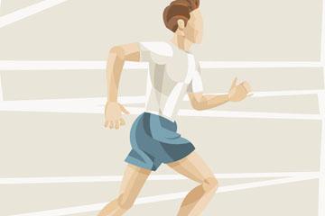 彩绘跑步健身的男子矢量素材