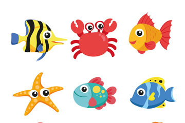 9款可爱卡通海洋动物矢量素材