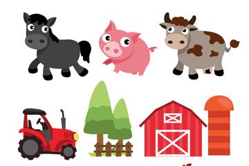 6款卡通农场动物和4款农场元素矢