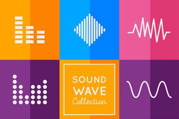 8款彩色声波设计矢量素材