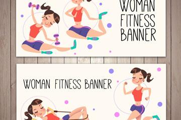 2款卡通健身女子banner矢量图