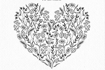 手绘花草组合爱心矢量素材
